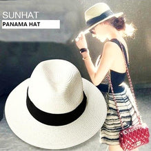 Load image into Gallery viewer, Classic Casual Wide-Brim Straw Panama Fedora*