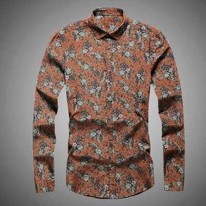 Mens Vintage  Flower Print Long Sleeve Shirt* (S-3XL)