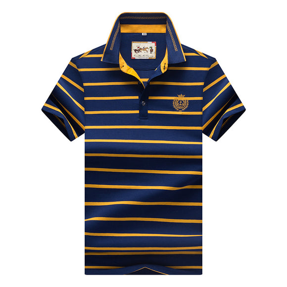 Mens Striped Short Sleeve Polo Style Shirt
