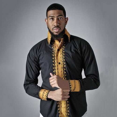 Black Long Sleeve Traditional African Print Dashiki*