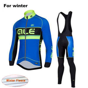 LONG SLEEVE WINTER THERMAL FLEECE GEL PADDED CYCLING SUIT