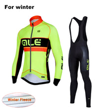 Load image into Gallery viewer, LONG SLEEVE WINTER THERMAL FLEECE GEL PADDED CYCLING SUIT