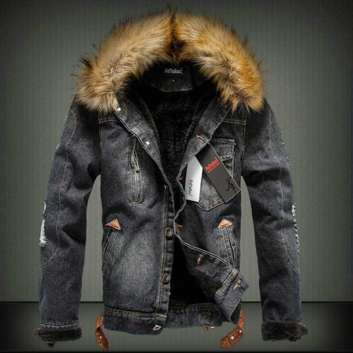 Thick Autumn And Winter Retro Denim Jacket with Fur Hood
