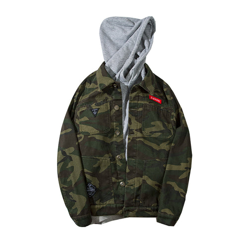 Thick Winter 100% Cotton Hooded Camo Denim Jacket