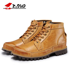 Load image into Gallery viewer, Mens Genuine Leather Lace Up Motorcycle Boots