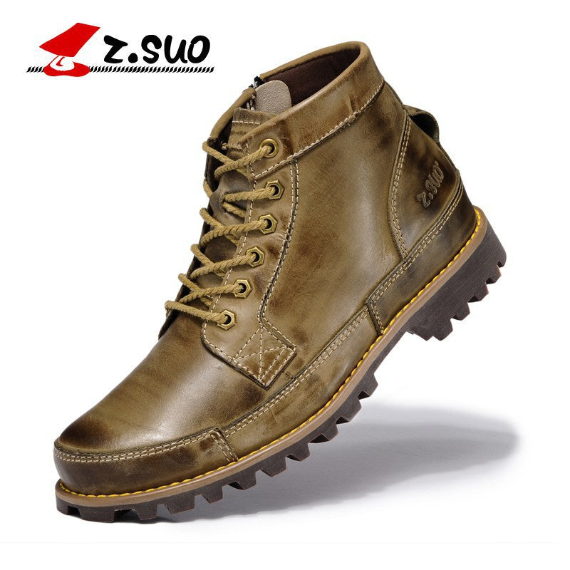 Mens Genuine Leather Lace Up Motorcycle Boots