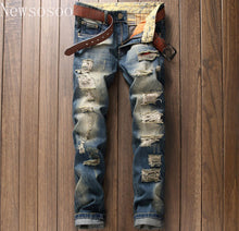 Load image into Gallery viewer, Mens Straight Denim American Style Zipper Jeans