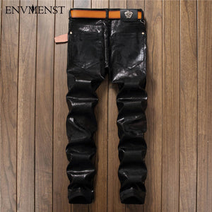 Mens European Style Letter Print Straight Leather/Denim Jeans