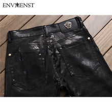 Load image into Gallery viewer, Mens European Style Letter Print Straight Leather/Denim Jeans