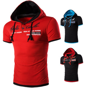 Casual Short Sleeve Hooded Polo Shirts