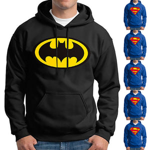 Casual Winter Superman/Batman Print Hooded Novelty Sweatshirts