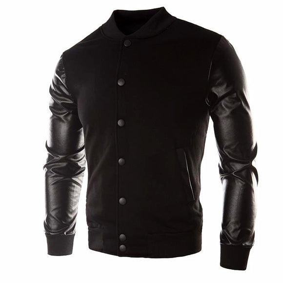 Men's Leather Patchwork Hoodie -Button Basic Bomber Jacket