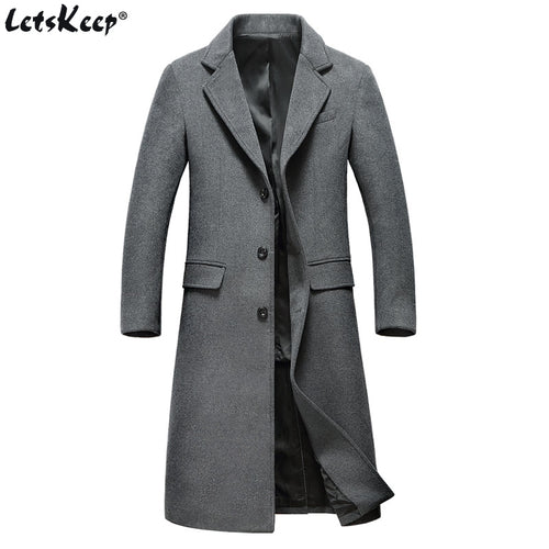 LETSKEEP Single-Breasted Long Winter Wool Peacoat w/Turn Down Collar*