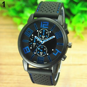 Waterproof Men's Casual Sport Stainless Steel w/Silicone Band Quartz Analog Wrist Watch