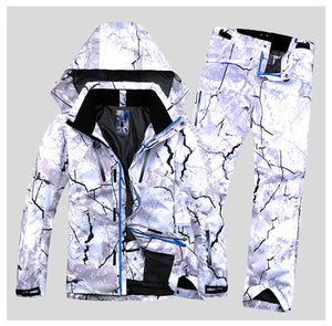 Mens wind/Waterproof Warm Hooded Ski Suit