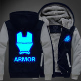 Mens Thick Fleece Hooded Iron man Winter Coat