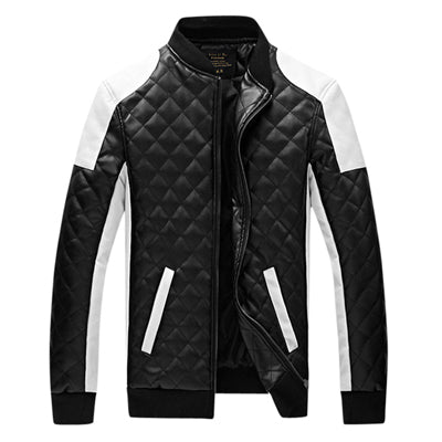 Black & White Plaid Leather Textured Bomber Jacket*