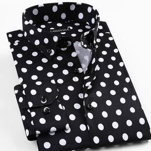 Long Sleeve Big Polka-Dot Dress Shirt-Slim Fit 97% Cotton