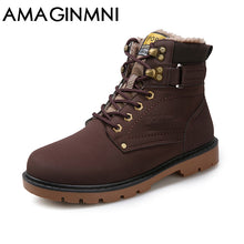 Load image into Gallery viewer, Men's Winter PU Leather Martin Round Toe Boots