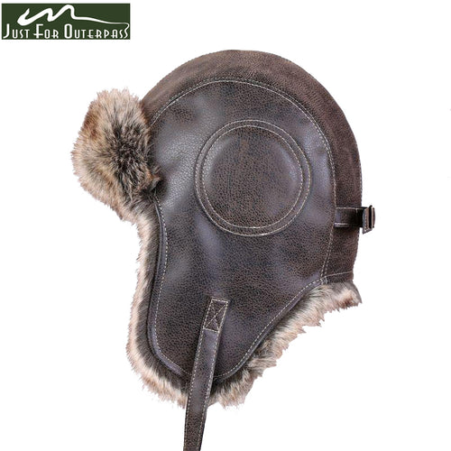 Casual Leather Windproof Flight Ear Bomber Hat