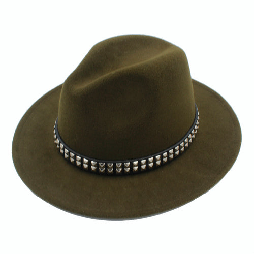 Wide Brim Wool Fedora with Punk Style Ribbon*