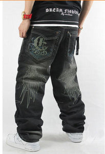 Loose Embroidered Cargo Style Denim Jeans
