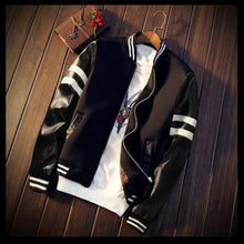 Load image into Gallery viewer, Men's Splicing PU Sleeve Coat -w/ Baseball Collar -Short Jacket Black/White