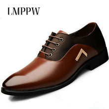 Load image into Gallery viewer, Mens Leather Pointed Toe Lace Up Formal Oxfords