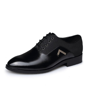 Mens Leather Pointed Toe Lace Up Formal Oxfords