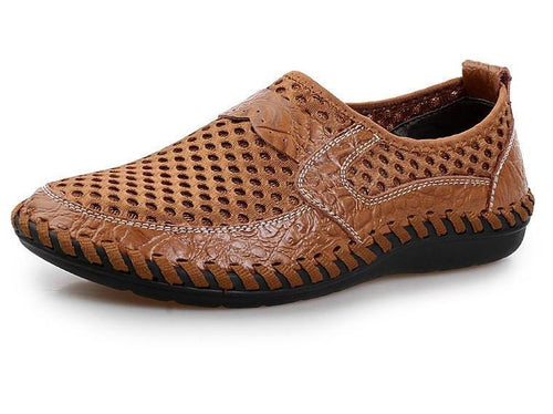 New Mens Breathable Mesh Leather Slip On Loafers