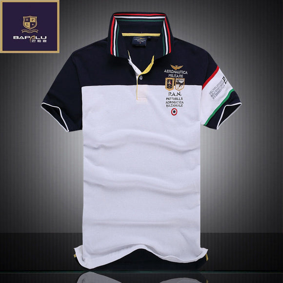 Mens Slim Lapel Short Sleeve Embroidered Polo