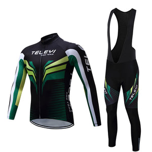 TELEYI MENS SUMMER LONG SLEEVE GREEN & BLACK CYCLING SUIT