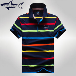Men's Striped Cotton Breathable Polo Style Shirt