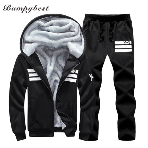 MENS THICK HOODED FLEECE RUNNING SUIT