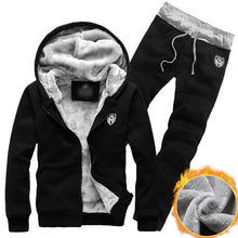 Load image into Gallery viewer, Mens 2 Piece Set Thick Hoodie Tracksuit- NIBESSER Brand Solid 2-Piece Cotton Jogging Suit