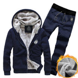 Mens 2 Piece Set Thick Hoodie Tracksuit- NIBESSER Brand Solid 2-Piece Cotton Jogging Suit