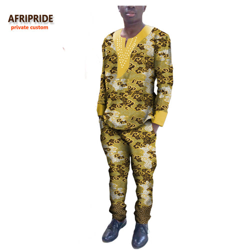 Traditional Mens African Custom O-Neck Rhinestone Pants Suit