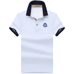 Mens Regular Slim Lapel Embroidered Polo Style Shirt