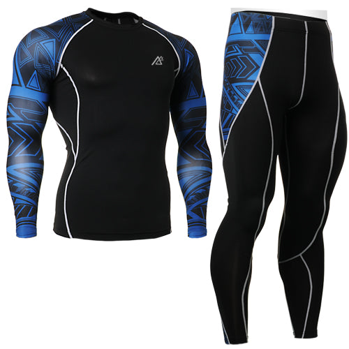 Black Men's 2-Piece Breathable Elastic Compression Running Suit