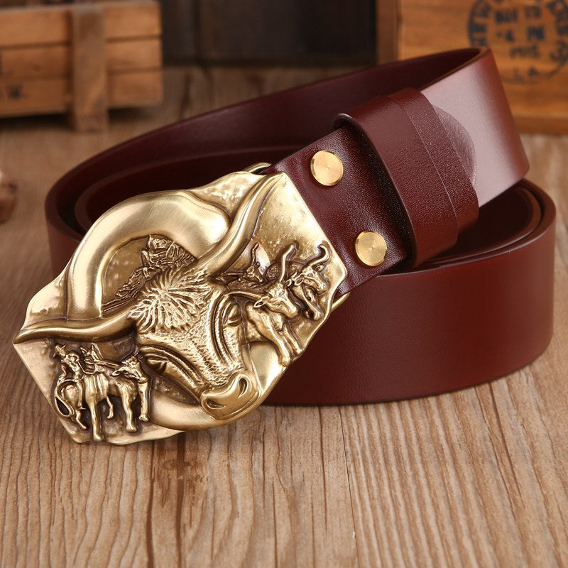 Thick Leather with Belt Solid Brass Buckle