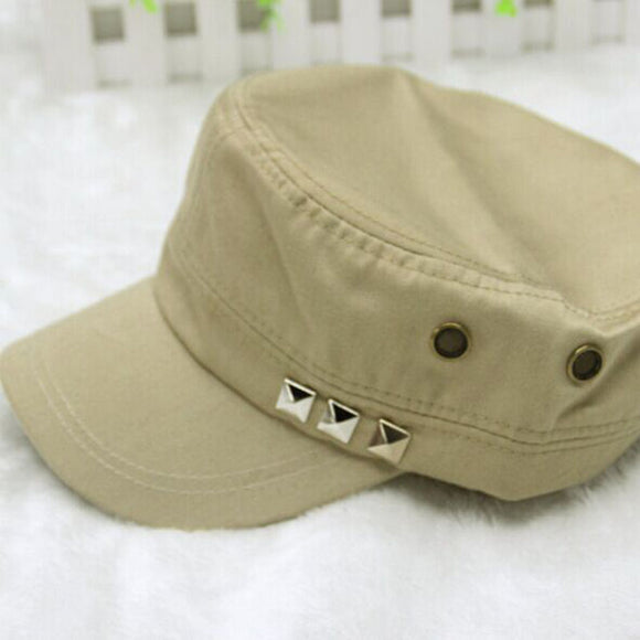 Vintage Solid Pattern Adjustable Military Hat with Rivets