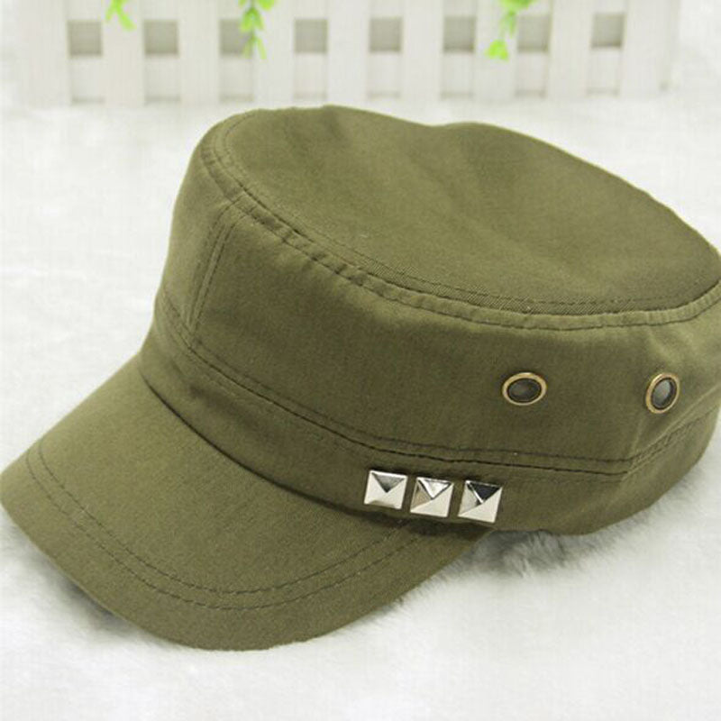924522a88d6 Vintage Solid Pattern Adjustable Military Hat with Rivets – HUB TITAN