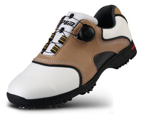 Mens Genuine Cowhide Leather Slip-On Golf Shoes