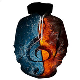 3D Hooded Musical Note Print Long Sleeve Hoodie
