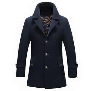 Single-Breasted Wool Business Trench Coat* (M-3XL)