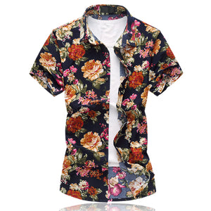 Summer British Style 100% Cotton Short Sleeve Floral Print Shirt