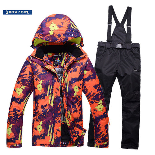 Mens Water/Windproof Color Block Ski/Snowboar Suit
