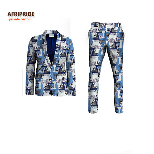 AFRIPRIDE Private Custom Slim Fit 2-Piece African Print Business Suit