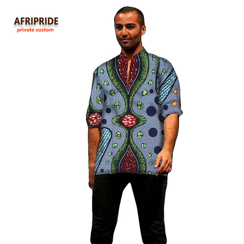 AFRIPRIDE Bazin Riche Retro Pattern Dashiki