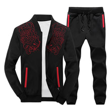 Load image into Gallery viewer, MENS AUTUMN HOODED EMBROIDERED PATTERN RUNNING SUIT